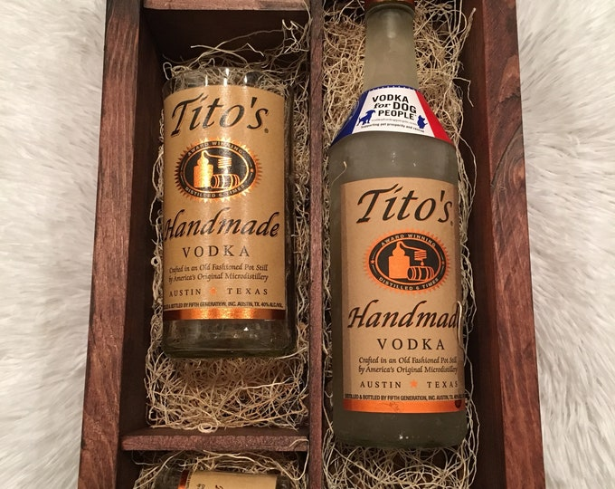 Tito's Vodka Wood Box Gift Set - 2 Shot Glasses, Tumbler - Full bottle not included