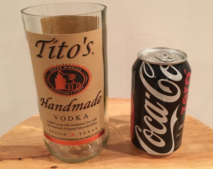 Tito's Vodka 1 Liter Bottle Cut/ Sanded into Tumblet Glass/ Vase