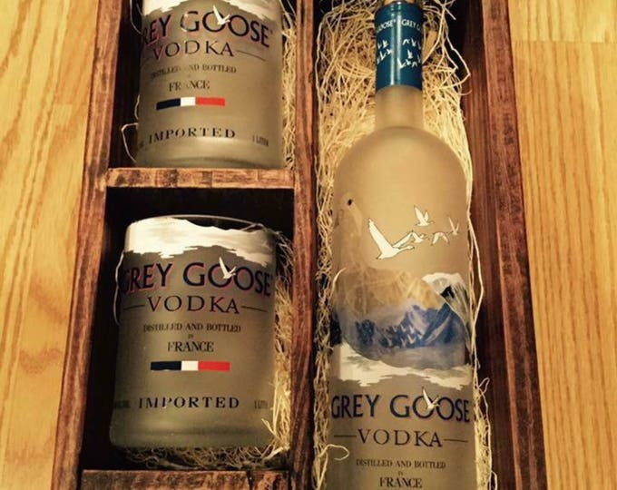 Grey Goose Vodka Gift Box Sets (10) - Each Includes 2 Rocks Glasses & 1 Shot Glass Made from Empty Bottles - Full Bottle Not Included