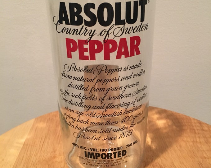 Absolut Peppar Vodka Glass - Made From Empty 750ml Vodka