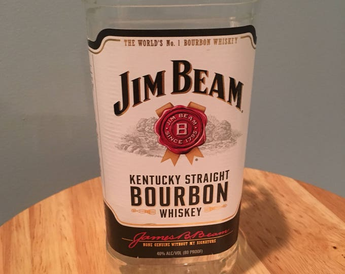 Jim Beam Kentucky Straight Bourbon Whiskey Glass made from 750ml Bottle