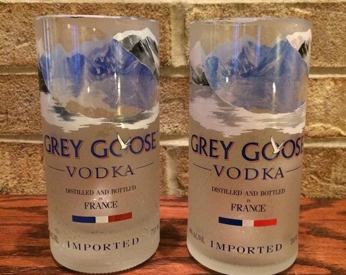 2 Grey Goose vodka tall glasses from 750ml bottle