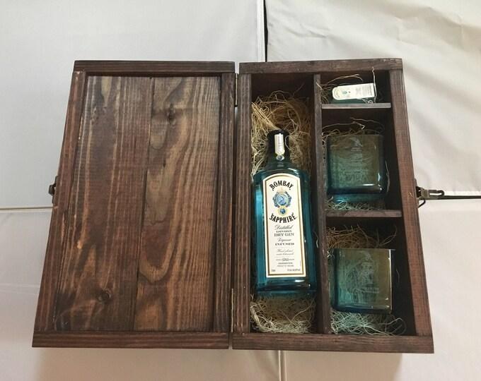 Bombay Sapphire Gin Wood Gift Box Set w/ Lid - (2) 750ml Bottle Rocks Glasses, (1) 50ml Bottle Shot Glass, Full Bottle Not Included