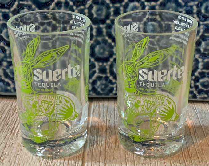 Suerte Tequila Blanco Shot Glasses (2) made from 50ml Bottles