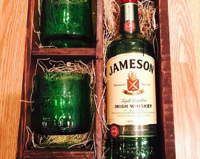 Jameson Whiskey Gift Set - (2) Rocks Glasses and (1) Shot Glass made from Jameson Bottles - Full Bottle Not Included