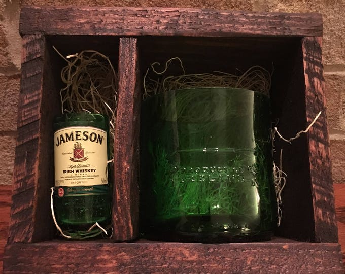 Jameson Whiskey Bottle Rocks Glass & 50ml Bottle Shot Glass Wood Gift Set