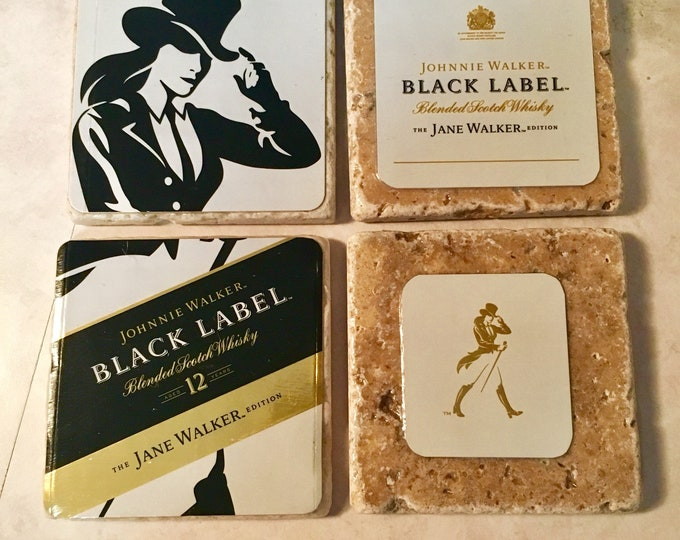 Jane Walker Whiskey Coaster Set (4) made from Empty Limited Edition Box / Johnnie Walker