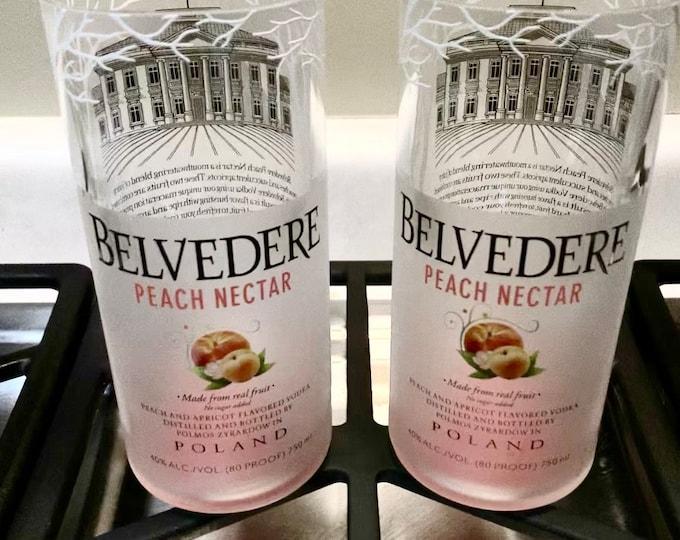 Tumbler Glasses (2) made from Vodka Peach Nectar 750ml Bottle