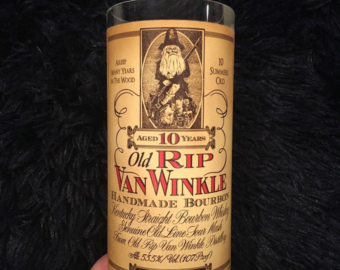 Old Rip Van Winkle Handmade Bourbon 10 Year vase made from empty 750ml bottle