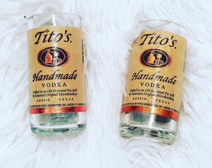 K9 4 Keeps Chicago Dog Rescue Fundraiser- Tito's Vodka 50ml Bottle Shot Glass Set of 2