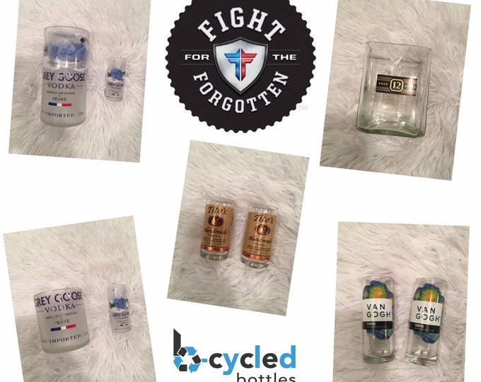 Fight For The Forgotten Fundraiser - Shot, Rocks Tumbler Glasses made from Empty Bottles
