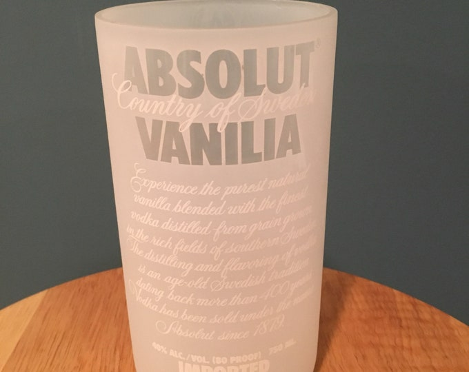 Absolut Vodka Vanilla Glass - Made From Empty 750ml Bottle