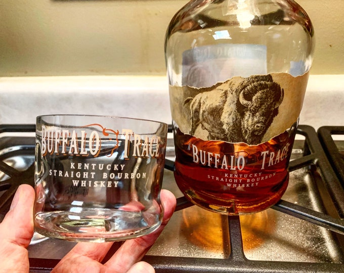 Buffalo Trace Whiskey Rocks Glass -Made from Empty Bottles