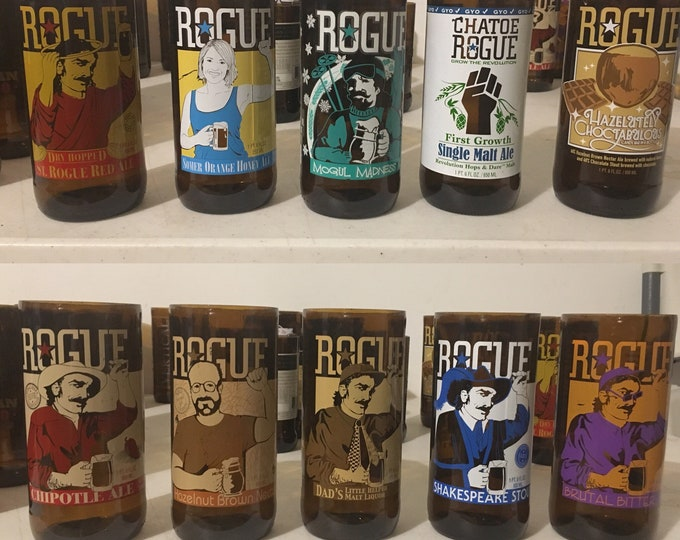 Rogue Brewery Beer Glasses made from Empty Pint Bottles - Pick a glass
