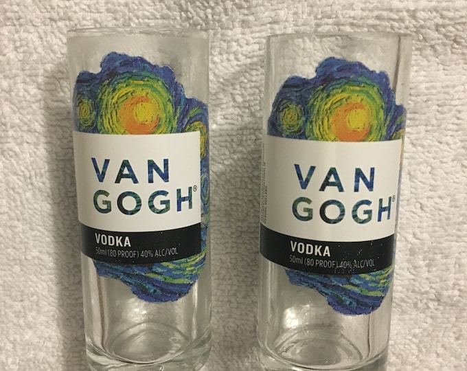 Van Gogh Vodka Shot Glasses (2) made from empty 50ml, Mini Bottles