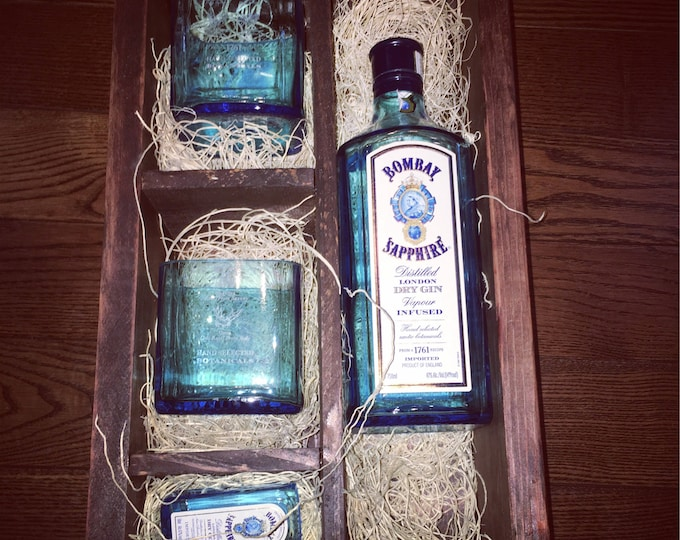 Bombay Sapphire Gin Gift Set - (2) Rocks Glasses made from 750ml Bottles, (1) Shot Glass made from 50ml Bottle, 750ml BOTTLE NOT INCLUDED