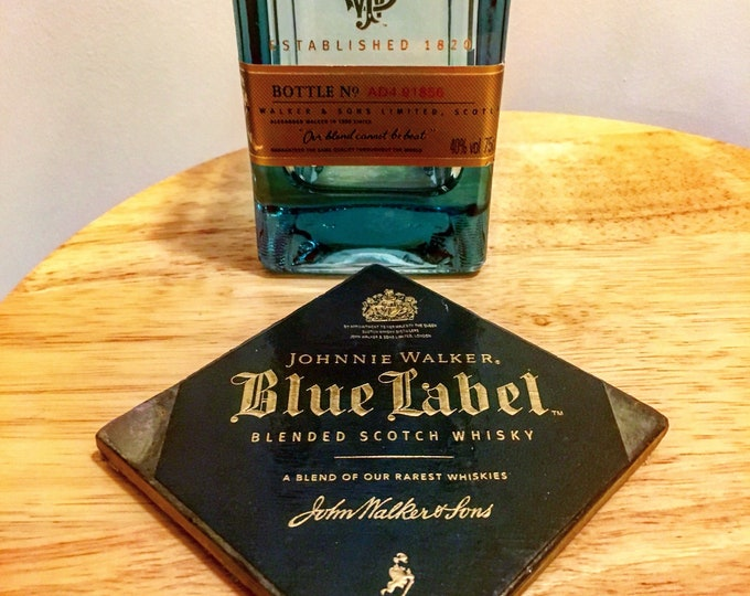 Johnnie Walker Blue Label Rocks Glass & Coaster Set (made from bottle and box top)