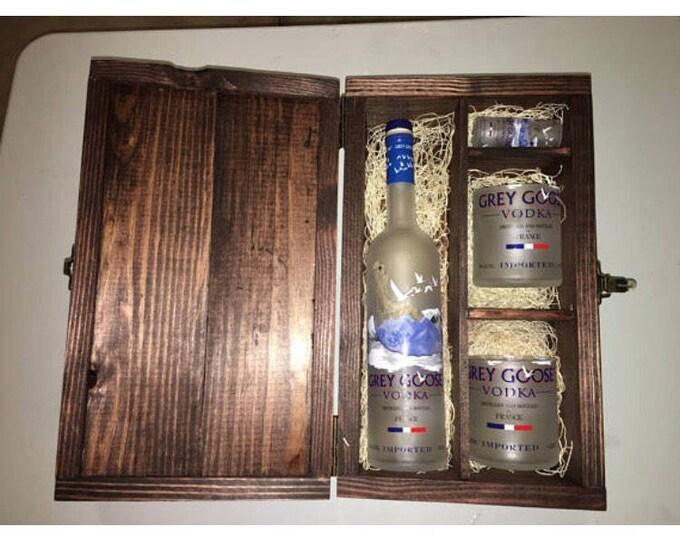 10 Grey Goose Vodka Wood Gift Boxes w/ Lid  Set - (2) 750ml Bottle Rocks Glasses, (1) 50ml Bottle Shot Glass, Full Bottle Not Included