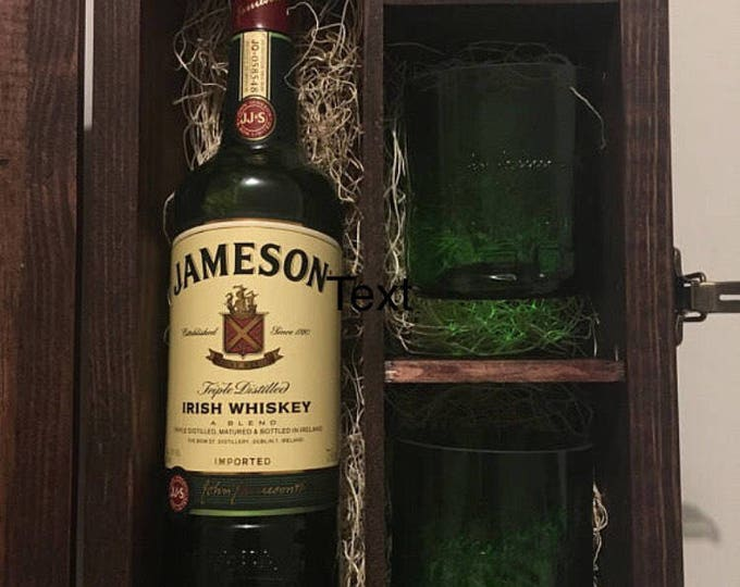 Jameson Whiskey Wood Gift Box w/ Lid Set - (2) Rocks Glasses, (1) 50ml Bottle Shot Glass, Full Bottle Not Included