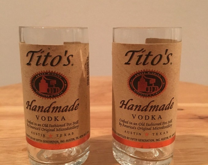 Tito's Vodka 50ml Bottle Shot Glass Set of 2