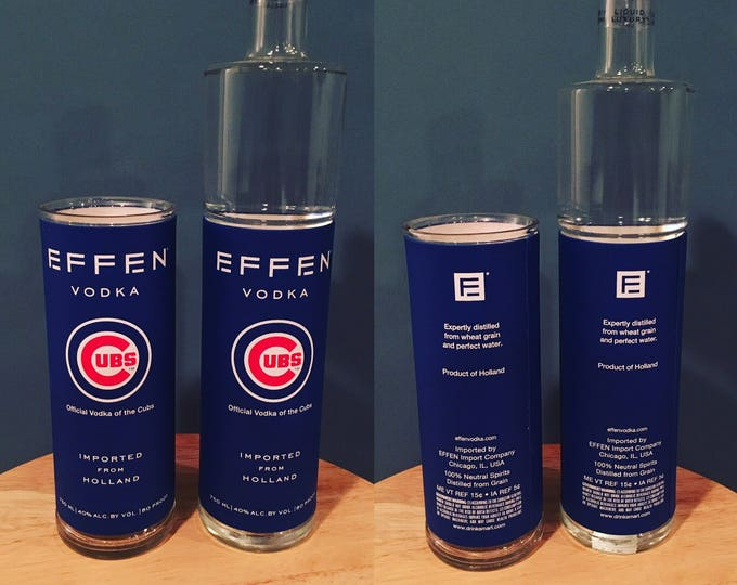 Limited Edition Chicago Cubs Effen Vodka Tall Glass Made from Empty 750ml Bottle