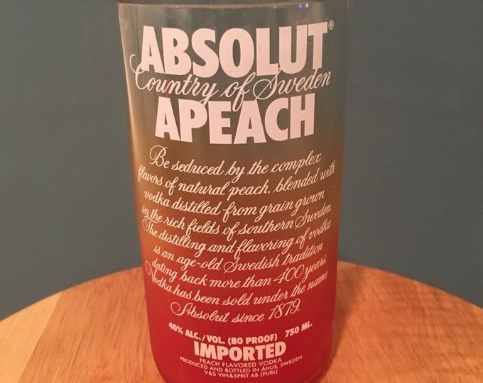 Absolut Apeach Vodka Glass - Made From Empty 750ml Bottle