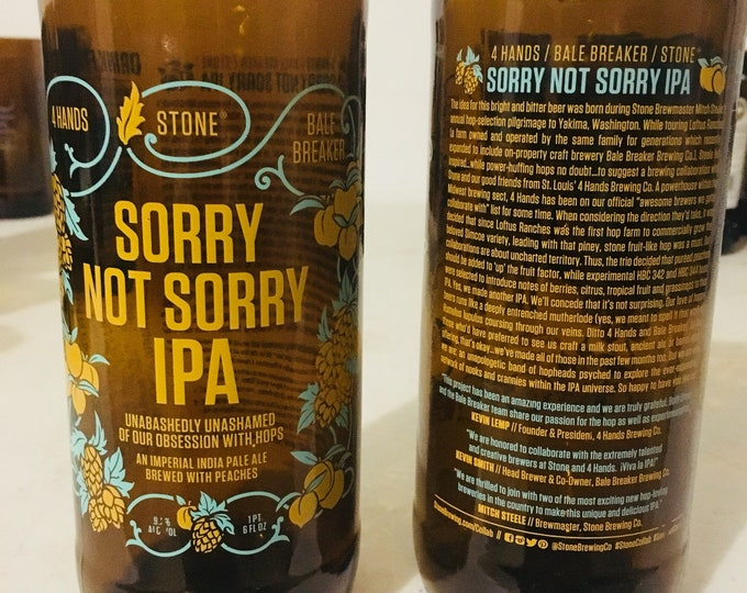 Stone Brewing Sorry Not Sorry IPA Glass made from empty Pint Bottle