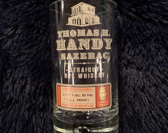 Thomas H. Handy Sazerac BTAC Straight Rye Whiskey Glass made from empty bottle