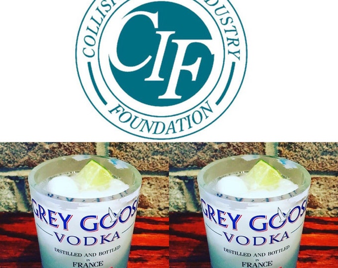 Collision Industry Foundation (CIF) fundraiser - (2) Grey Goose Vodka Rocks Glasses made from 1 Liter Bottles