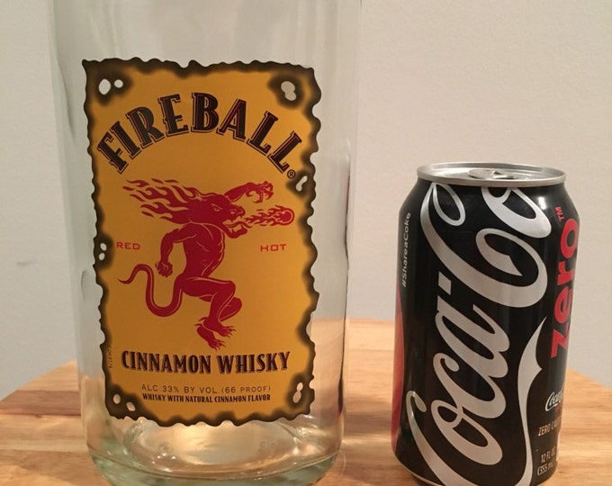 Fireball Whiskey Glass/ Vase from 1 liter Bottle