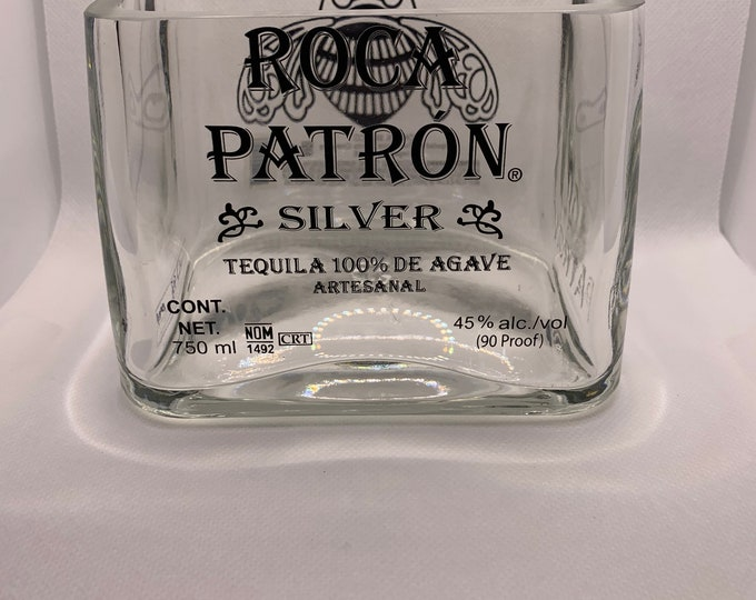 Roca Patron Silver Ultra Premium Tequila Lime/ Candy Holder, Vase made from empty 750ml Bottle