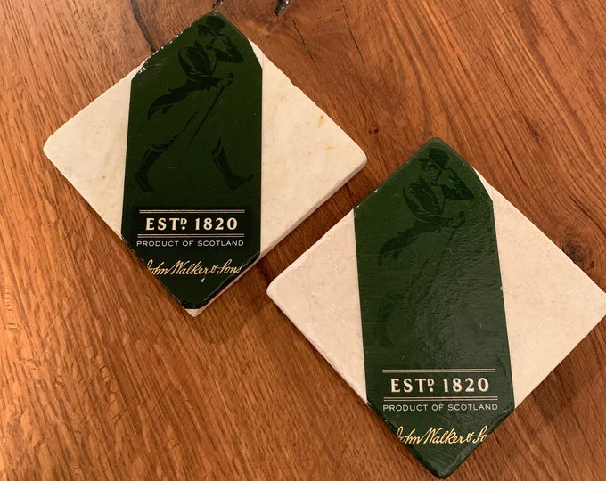 Johnnie Walker  Green Label Coasters (2) - Made from Johnnie Walker Green Label Box Packaging