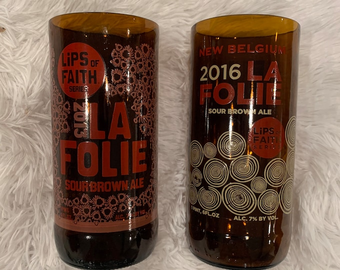 New Belgium Brewery La Folie Lips of Faith Beer Glasses - Made from Pint Bottles