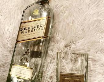 Johnnie Walker Promotional Solid Glass Miniature Bottle w//Laser Etched Logo