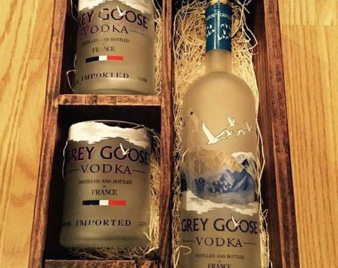 Grey Goose Vodka Wood Box Gift Set - (2) 750ml Bottle Rocks Glasses, (1) 50ml Bottle Shot Glass. Full bottle not included