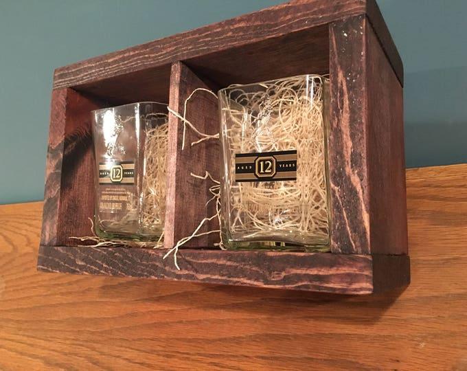Johnnie Walker Whiskey Black Label Rocks Glasses Made from Empty Bottles + Wood Gift Box