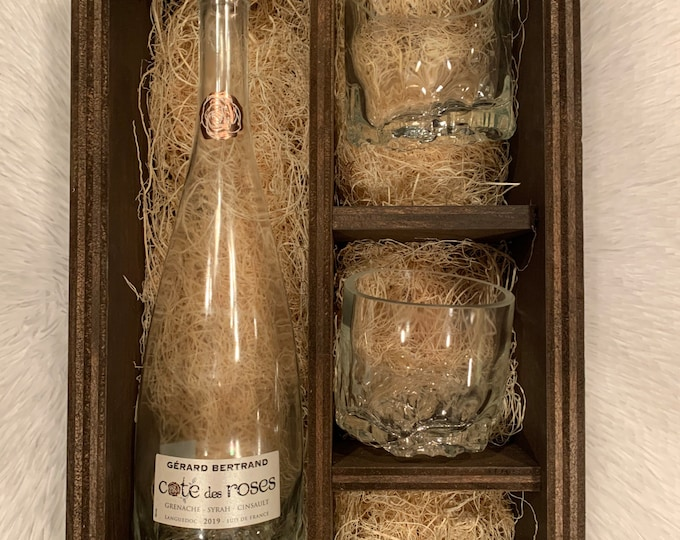 Cote Des Roses Gift Set - (2) Glasses made from Empty 750ml Bottle - Room for 750ml Bottle