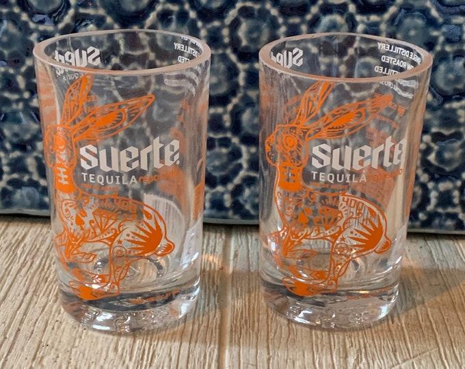 Suerte Tequila Reposado Shot Glasses (2) made from 50ml Bottles