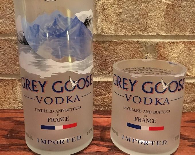 Grey Goose Vodka 1 Liter Bottle Tumbler & Rocks Glass