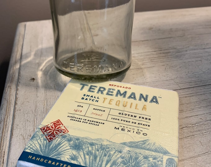 Teremana Tequila Rocks Glass & Coaster made from empty Bottle and Label