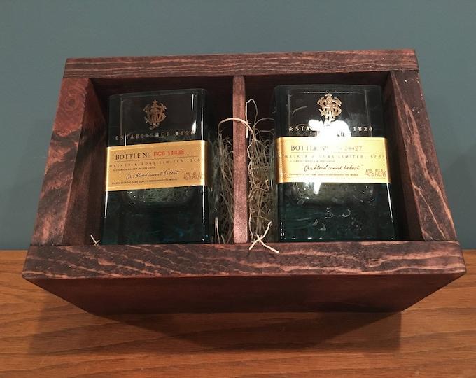 Johnnie Walker Whiskey Blue Label Rocks Glasses Made from 750ml Bottles + Wood Gift Box