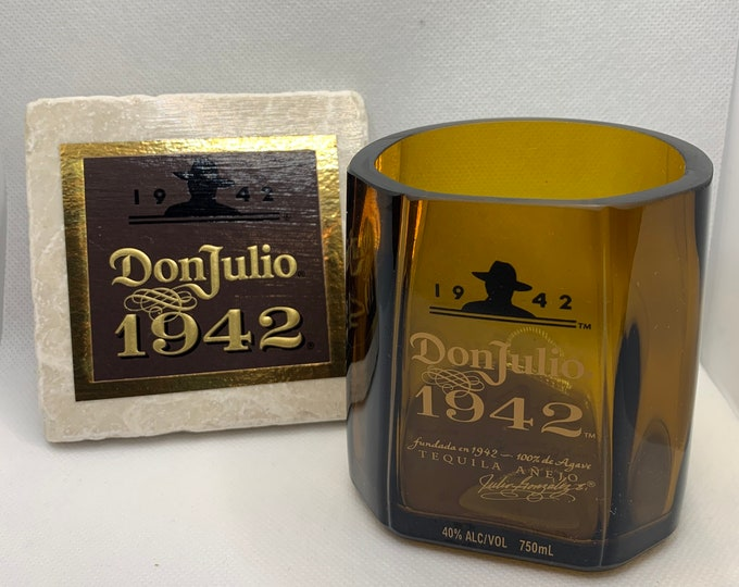 Don Julio 1942 Tequila Rocks Glass made from Empty Bottle (1) + Coaster made with logo from 1942 Box