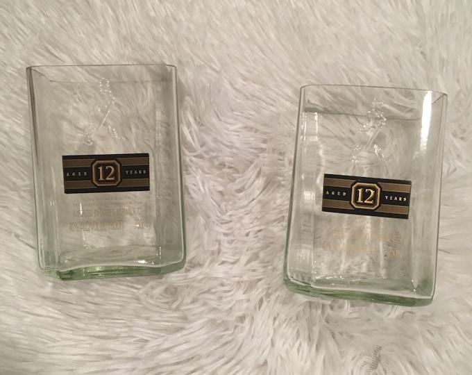 Johnnie Walker Black Label Rocks Glasses (2) made from 1 Liters Bottles