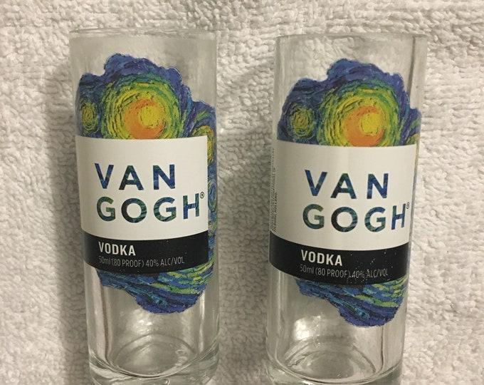 Van Gogh Vodka Shot Glasses (2) made from empty 50ml, Mini Bottles
