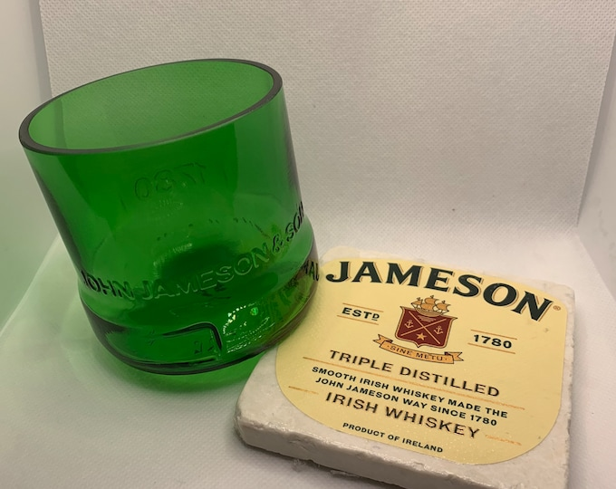 Jameson Whiskey Rocks Glass (Made From Empty Bottle) & Coaster Made w/ Bottle Label
