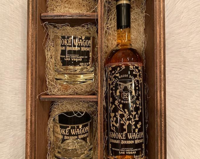 Smoke Wagon Bourbon Whiskey Rocks Glass Wood Gift Set -Full Bottle Not Included
