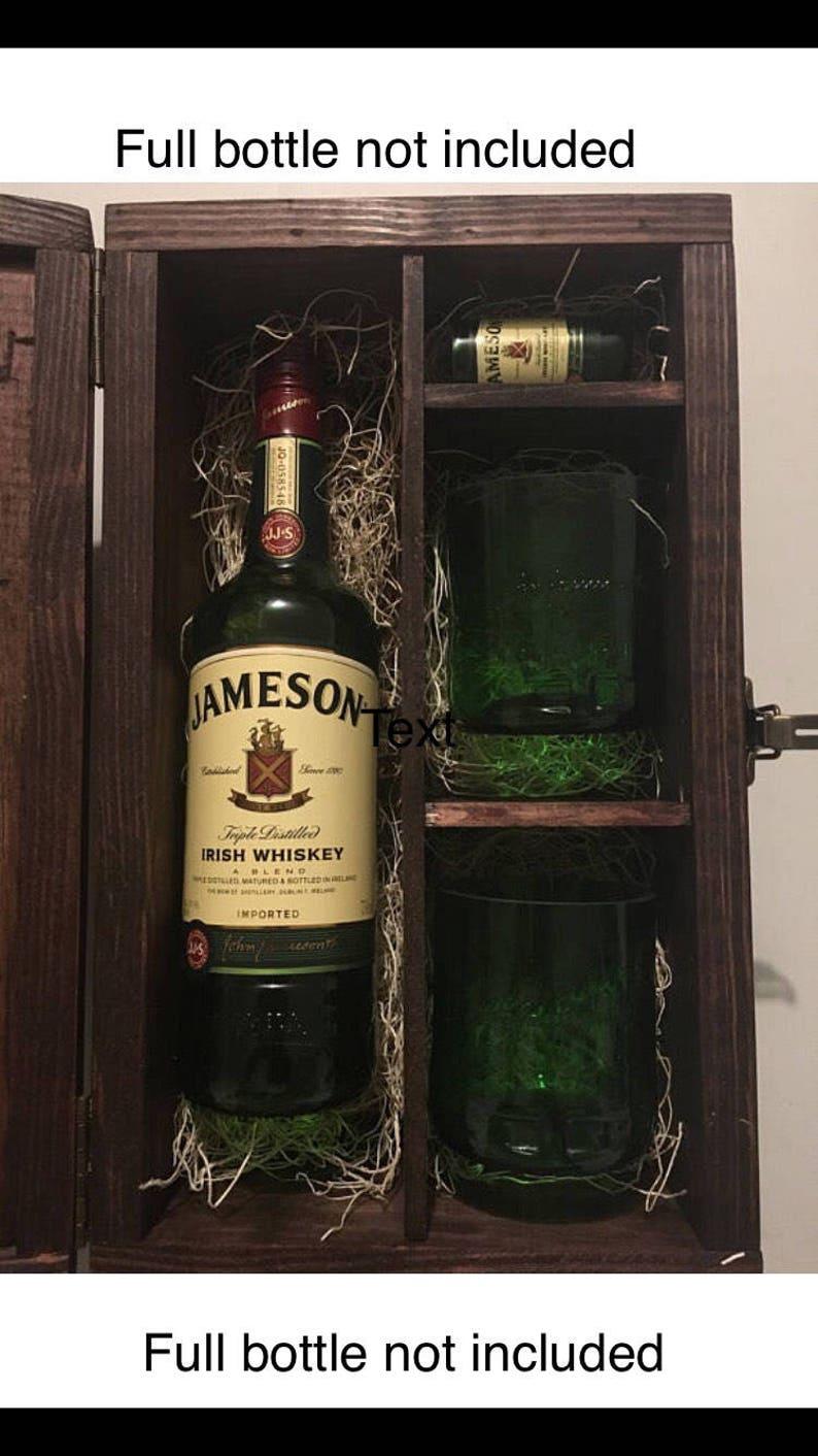 image 0 ... & Jameson Whiskey Wood Gift Box w/ Lid Set 2 Rocks Glasses | Etsy