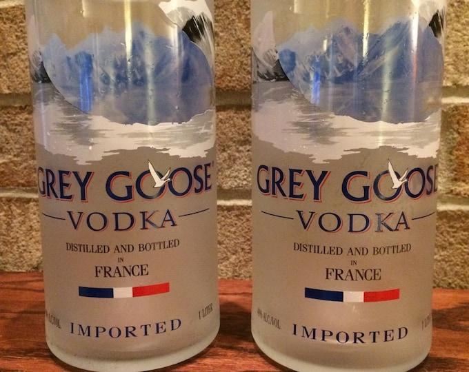2 Grey Goose vodka tall drinking glasses from 1 liter bottles