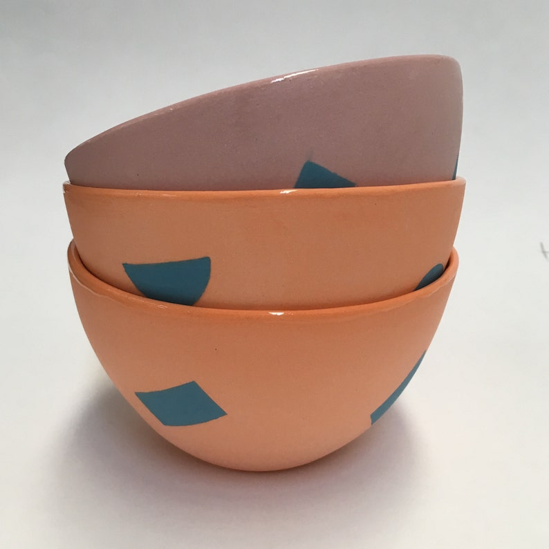 GEO Bowl Pink with Blue rectangles