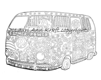 VW Voltswagon Bus Hippie Camping Printable Adult Coloring Book Page Instant Download Zentangle PDF Kraft Color Meditation